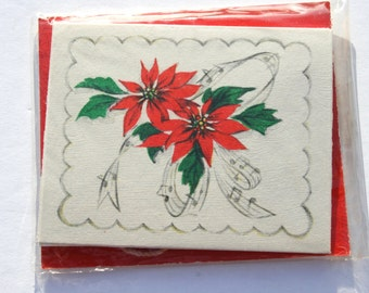 Vintage Poinsettia Hallmark Christmas Tags, Unused NOS NIP Christmas Gift Tags Wrapping Decorating