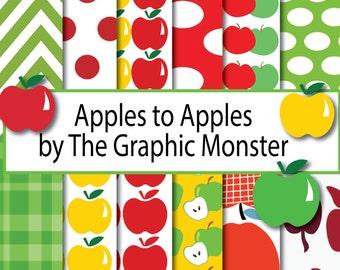 Apple Scrapbook Paper, Digital Paper Apple, Scrapbook Paper, Apple Digital Paper, Apple Clip Art