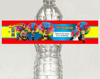 Madagascar personalized gloss water bottle label - printable