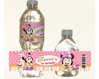 Personalized printed Baby Minnie Mouse 1st Birthday water bottle label