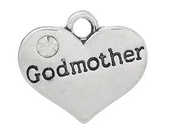 Godmother Heart Charm with Stone *add on* Only