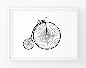 Penny Farthing, Bike Art, Vintage Bike, Vintage Bicycle, Old Bicycle, Bike Prints, Bicycle Print, Bike Poster, High Wheel, Old Fashioned