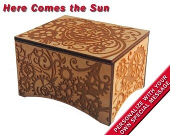 """Windup Steampunk Music Box, """"Here Comes the Sun"""" tune by the Beatles, Laser Engraved Birch Wood"""