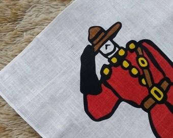 Canadian Mountie Souvenir tea towel. Kitchen linen.