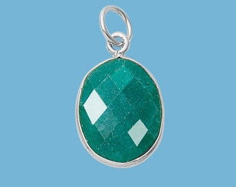 Small Emerald Sterling Silver Oval Pendant, 13x16mm