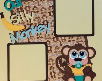 Baby Boy Premade Scrapbook Page Silly Monkey