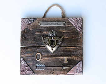 "Rustic Wooden Plaque "" The Journey Awakens The Soul"" with Metal Heart"