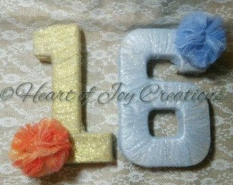Tulle Wrapped Numbers, Centerpiece, Table Number, Party Decor, Fire and Ice Decoration, SIlver and Gold Decor