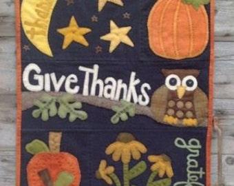 "Wool Applique wall hanging PATTERN "" Owl'ways Thankful """