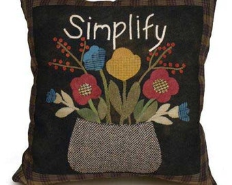 Primitive Wool Applique PATTERN - Simplify Pillow - GM