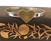 Handmade Sterling Silver Bangle with Large Golden Brass Heart (Hammered or Smooth)