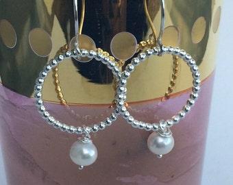 Pearl and Sterling Silver Small Hoop Earrings