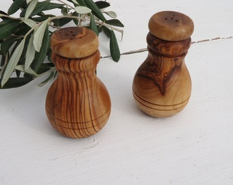 Hand made Olive Wood  Salt and Pepper Set