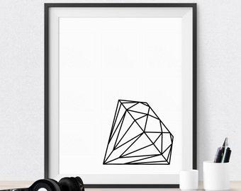 Printable Art Diamond Print Black & White Print Gift for Friend Wall Art Home Decor Wall Decor print Bedroom Wall Decor
