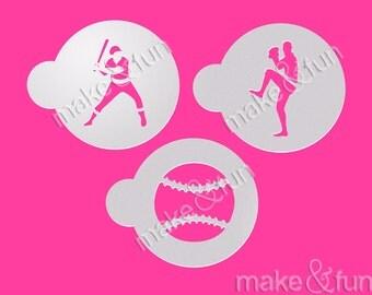 3 pcs Baseball Stencil, Cake Stencil, Cookie Stencil, Kuchenschablone (Product Code LC026)