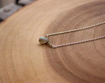 Blue Fire Labradorite Faceted Drop Briolett Necklace