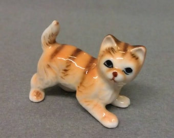 Vintage Beige, Brown and Tan Striped Kitty Cat Porcelain Figurine