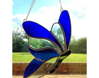 Stained Glass Blue Butterfly Sun-Catcher Gift Decoration