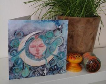 Goddess greeting card,moon greeting card,spiritual greeting card,art card,dream greeting card,goddess,moon,blank greeting card,pagan card,
