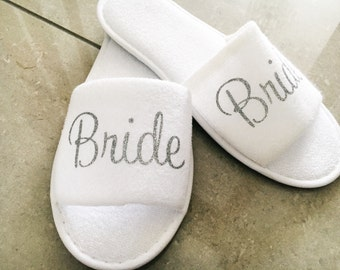 Personalised wedding slippers, bridal slippers terry towel open toe slippers bridesmaid gift, hen slippers,Personalized bridal slippers