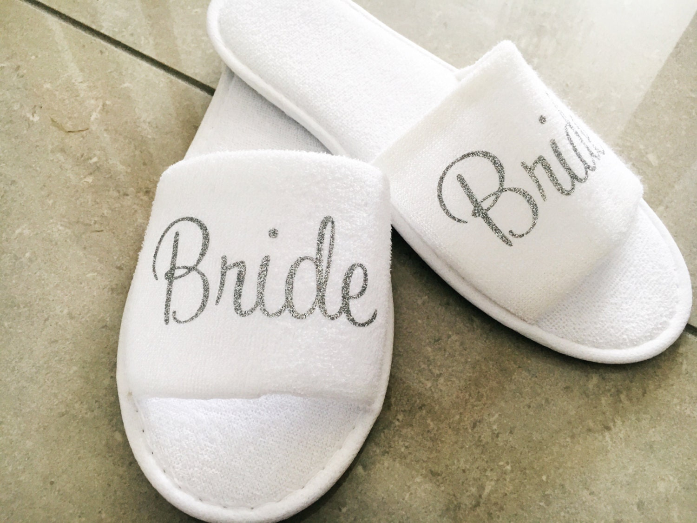 Personalised Wedding Slippers Bridal Slippers Terry Towel