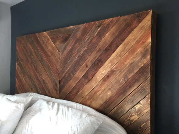 Items Similar To Rustic Chevron V Wood Headboard