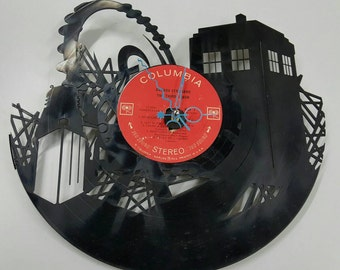 Doctor Who Vinyl Record Clock, Dr. Who Clock, Custom Clock, Clocks for Geeks, doctor who clock, contemporary wall clocks, Tardis Clock