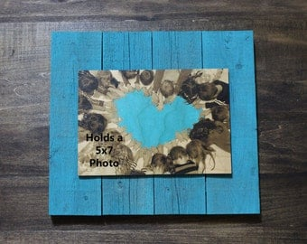 Personalized Reclaimed Wood Photo Plank Display, 5x7 photo