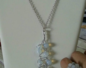Set .In sale  Charming necklace and ring from natural stones