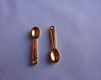 24mm Tiny Gold Spoon Charms (set of 2)