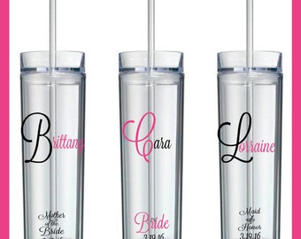 Wedding Tumblers, Bride, Bridesmaid Gifts,Personalized Gift, Groom, Groomsmen, Wedding Day, Mother of the Bride, Mother of the Groom, Mom