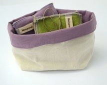 Organic cloth wipes, ecological washable wipes, wipes and storage basket in purple cloth, wipes off white Blueberry basket