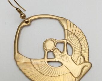 Brass Isis egypt ancient goddess reggae africa empress queen earring