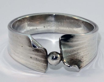 Sterling & Fine Silver Hand Forged Ring - Size 8 3/4