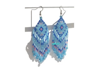 Native American Style Beadwork Seed Bead Earrings