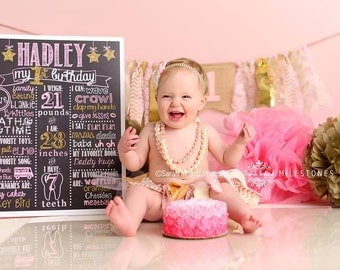 Pink and Gold First Birthday Chalkboard /Pink and Gold Little Star Chalkboard /Girl First Birthday Chalkboard/ Digital File Only