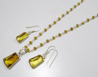 Sterling Silver Pendant Set with Yellow citrin quartz Rosary chain/ Fancy Shape Stone / Size18x35mm including Bail /Hydro quartz Jewelry
