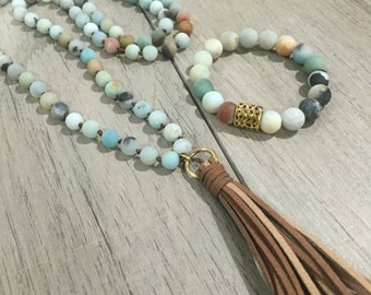 Natural amazonite beaded necklace with brown tassel under 40 free shipping