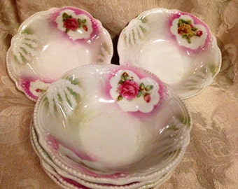 Vintage German Small Bowl Pink Roses, Lusterware Bowls 1940s to 1950s, Dessert Bowls, Shabby Chic