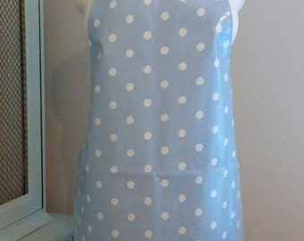 Adult Spotty Aprons, Blue, Cream and Taupe, Wipe Clean Aprons, Traditional Aprons, Retro, Oilcloth Aprons, Baking, Cookery, Kitchen, Gift