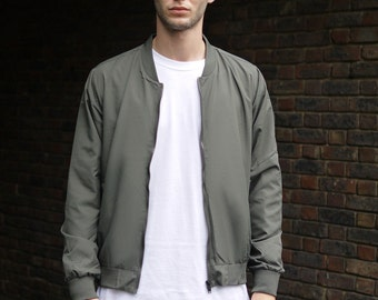 Lightweight Olive Bomber Jacket With Woven Label Detail
