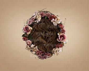 Newborn baby digital background backdrop, digital download, baby nest, baby photography, floral nest.