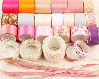 24M Pink Ribbon Set,Satin Grosgrain Cotton Lace,DIY Hair Bow Ribbon Set,Ribbon and Trim,DIY Hair Accessories Material Set