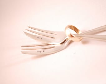 Hand Stamped Vintage Silver Cake Forks - Mr & Mrs Wedding Forks - Unique Wedding Gift by MariLouImpressions Bride and Groom Gift