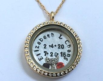 Celebration of Life Floating Charm Locket - Gold with Rhinestones Lost Loved One Memorial Locket - Memory Locket - Custom Hand Stamped Gift