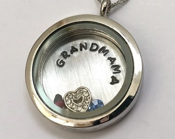 GRANDMAMA - Plain Silver Edge or Custom Floating Charm Locket - Memory Locket - Custom Hand Stamped Gift for Mom or Grandma