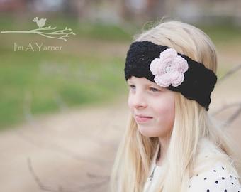 Black Headband, Black Lace Headband, Crochet Lace Headband, Black Earwarmer, Black Head Band, Crochet Headband, Crochet Head Band