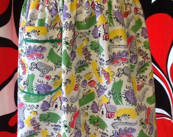 Items Similar To Vintage Apron Green And Yellow Daisy