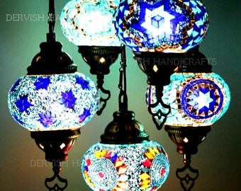 Turkish Lamp,hanging lamps,chandelier lighting,living room lamp with handmade 5 mosaic globes.
