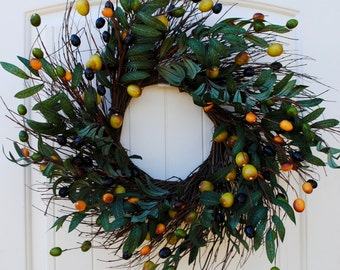 Olive branch wreath~olive stem~kitchen wreath~olive wreath~olive branches~front door wreath~olive decor~welcome wreath~seasonal decor
